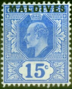 Maldives 1906 15c Blue SG5 Fine & Fresh Lightly Mtd Mint