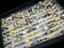 100Pc Mixed Ring Wholesale Lots Men Stainless Steel Statement Ring Women Jewelry