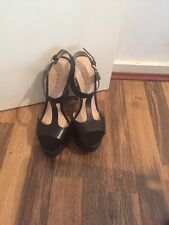 Gorgeous Black Leather Strappy Heels Office Size 5