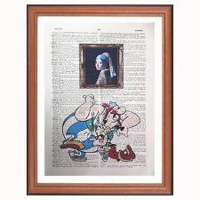 Asterix and Obelix Vs Johannes Vermeer - dictionary art print home Pearl earring