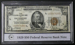 1929 $50 Federal Reserve Bank Note - San Francisco, CA in PCS Display Case
