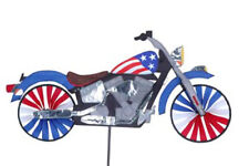 Patriotic Motorcycle Staked Wind Spinner with Pole & Ground Mount ..27..PR 25664