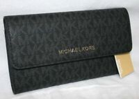 MICHAEL KORS JET SET TRAVEL LARGE TRIFOLD MK SIGNATURE WALLET BLACK
