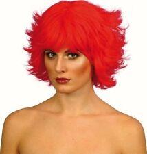 Peluca corta para mujer con flecos señoras Diablo Rojo Fiesta Vestido Elaborado Juegos con disfraces Gallina