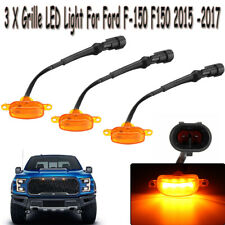 3pcs Bumper Front Grille LED Light Raptor Style Grill For Ford F-150 F150 15 -17