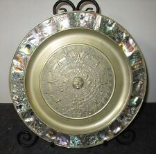 Vintage Authentic Mexico Mayan Design Mother of Pearl & Brass Plate / Plaque