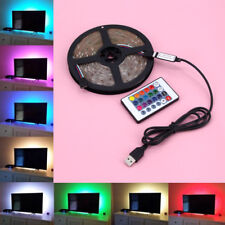 1M-5M USB LED STRIP LIGHTS TV BACK LIGHT RGB COLOUR CHANGING + REMOTE CONTROL UK