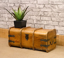 Solid Indian Natural Mango Wood Jali Mariners Chest Storage Trunk Blanket Box S1