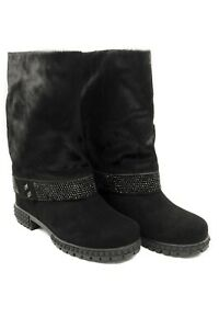 LucyToni Suede Black and Calf Hair Mid Length Boots with Jeweled Buckle
