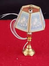 DOLLHOUSE MINIATURE Modern Brass Metal with Shade LED LIGHT Lamp