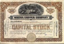 Magma Copper Company stock certificate 1920's. State of Maine 100 shares