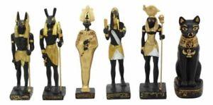 Egyptian Gods Anubis Osiris Seth Horus Bastet Thoth Miniature Statues Set Of 6