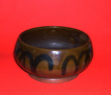 Studio Pottery-Vintage Attractive Stoneware Overlap Glaze Bowl - Marked CMW 1946