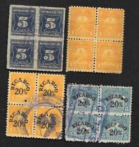 Caribbean lot of 4 blocks of 4 revenue stamps, 1910s-1940s