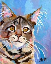 Maine Coon Cat 11x14 signed art Print from original watercolor painting Rjk
