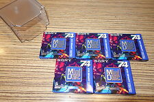 5 Minidisc  MD-W 74 AL Sony 74 Min 5 er Set Saphire Color + Box. Neu  (4-K)