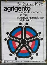 1978 25th International FOLKLORE Festival AGRIGENTO SICILY ANDREA ROSSI Poster