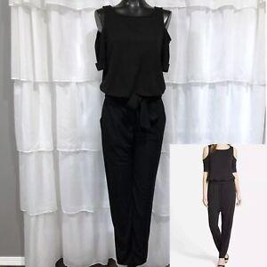 MEDIUM - NWOT BAILEY 44 Anthropologie Black Cold Shoulder Short Sleeve Jumpsuit