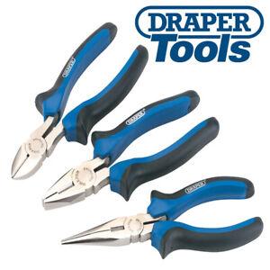 DRAPER-45864 3 Piece Wire Side Cutter, Combination & Long Nose Plier Set BLUE
