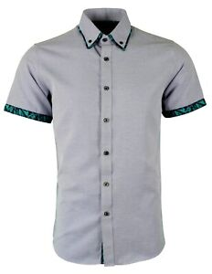 MENS DOUBLE COLLAR SHORT SUMMER SLEEVES PARTY CASUAL DRESS SHIRT NOW £17.99 (474