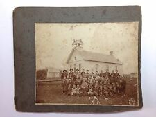 "Antique Class Photograph with Schoolhouse 9.75"" x 8"" Circa 1910"