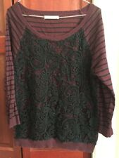 OASIS Maroon & Black Long Sleeve Top Striped Black Lace Size L