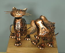 Metal Silhouette Cat & Dog Set Garden Ornament Decorative Lights by Smart Solar