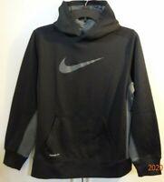 NIKE Black & Gray THERMA-FIT Pullover Hoodie Sweatshirt Boys Size XL