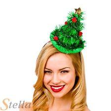 Ladies Green Tinsel Mini Christmas Tree Hat On Headband Fancy Dress Costume