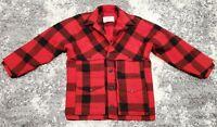 Vintage Filson Buffalo Plaid Double Mackinaw 100% Wool Jacket Size 40 red field