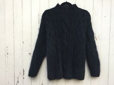 BLACK ANGORA MOCK NECK sweater CABLE KNIT chunky fisherman VINTAGE turtleneck