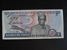 """ZAIRE RDC 5 zaires de 1982 état neuf  """"unc"""""""