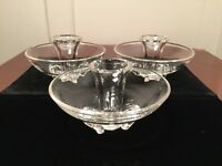 "Lot of 3 Hand-Signed STEUBEN ""Coronet"" Crystal Art-Glass Taper Candle Holders"