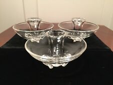 """Lot of 3 Hand-Signed STEUBEN """"Coronet"""" Crystal Art-Glass Taper Candle Holders"""