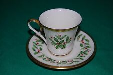 """Lenox Holiday 2 1/2"""" Footed Cup & Saucer Excellent Condition"""