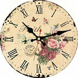12 Inch Home Decor Wall Clock,Wooden Classic Retro Flowers and Butterfly