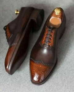 Handmade Men's two tone brown leather formal lace up shoes leather oxford shoes
