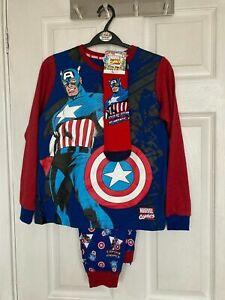Brand New Tu Kids Captain America Printed Pyjamas/Socks Size 8-9 & 9-10 years