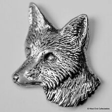 Fox Head Profile Pewter Brooch Pin - British Artisan Signed Badge - Hunting Dog