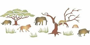 African Big Five Stencil 52 x16.5cm Reusable Animal Wildlife Border for Painting