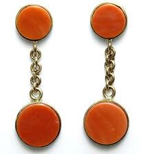 14K Yellow Gold Genuine Angelskin Coral Dangle Earrings