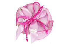 Bomboniera sacchetto rosa organza fiori Ricamati matrimonio comunione cresima