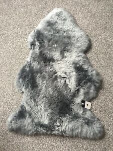 Genuine Real Sheepskin Rug Platinum Silver Grey Fluffy and Plush