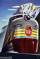 Vintage Train Poster/Art Deco/Canadian Pacific Railway/13x19in.