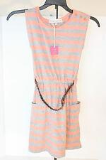Dress POOF GIRL   Belted Orange and Gray Stripe Dress SZ M Medium 10/12