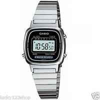 LA670WD-1D Casio Silver Watch Stainless Steel Lady Stopwatch Alarm