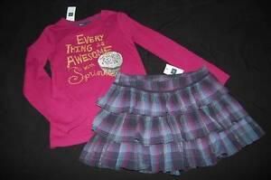NWT GAP Kids Magenta Cupcake Shirt & Navy Plaid Ruffle Skirt 6 7 School Outfit