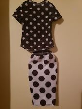 Black & White Polka Dot Skirt Set for new Curvy fashionista Barbie body