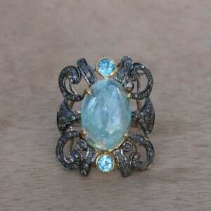 925 Silver Jewelry Ring Natural Aquamarine Topaz Gemstone Pave Diamond Gift Ring