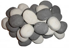 30 NEW REPLACEMENT WHITE GREY PEBBLES 50 X 40 X 35MM CERAMIC COALS FOR GAS FIRE